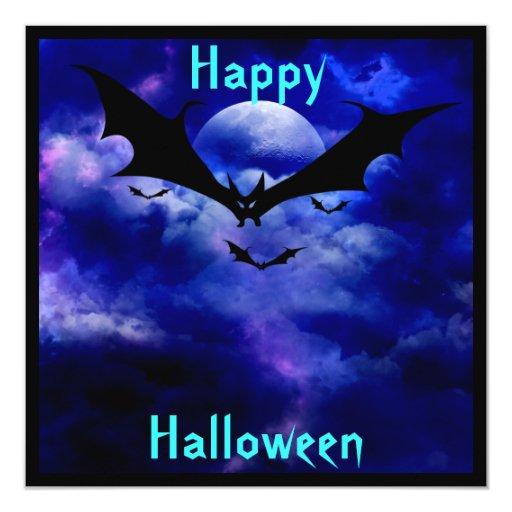 Cobalt Blue Sky Bats  Halloween Party Invitation