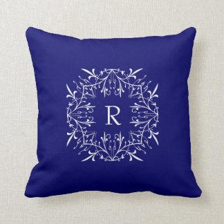 Cobalt Blue Stylish Monogram Lace Border Pillows