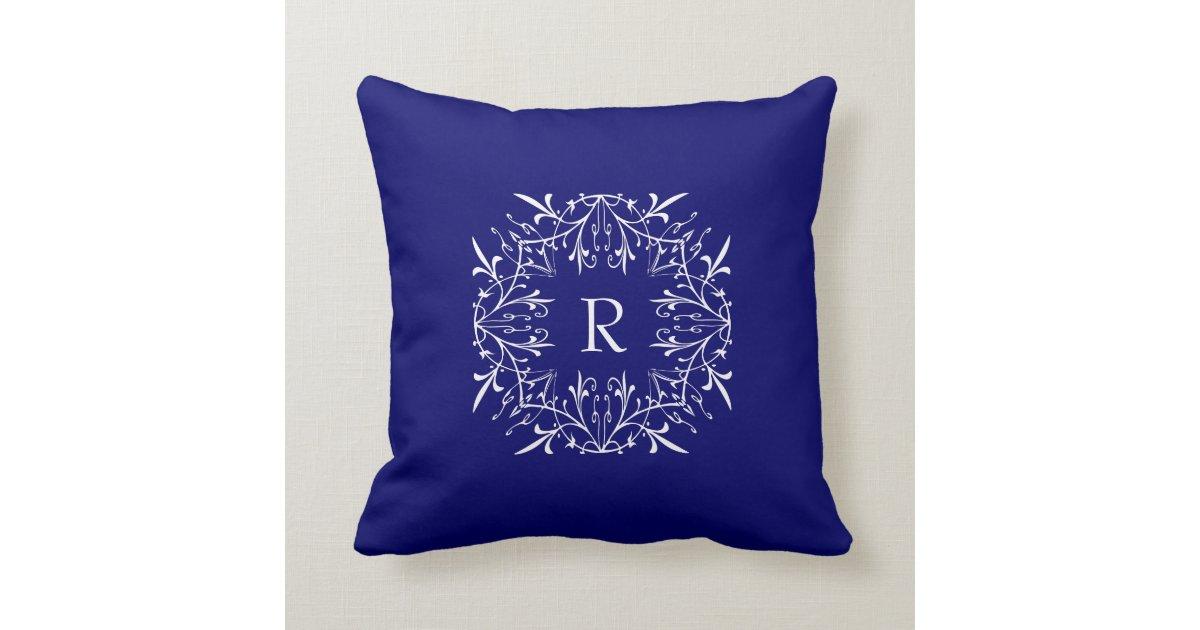 Cerulean Blue Throw Pillows : Cobalt Blue Stylish Monogram Lace Border Throw Pillow Zazzle