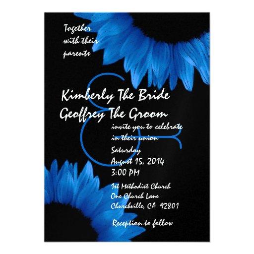 Cobalt Blue Sunflowers Modern Wedding Template Invites