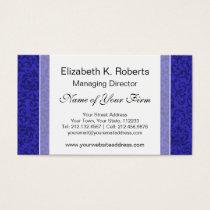 Cobalt Blue Tudor Garden Floral Damask Business Card