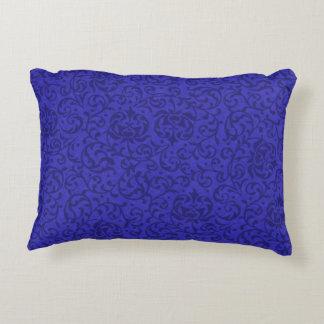 Cobalt Blue Tudor Garden Floral Damask Decorative Pillow