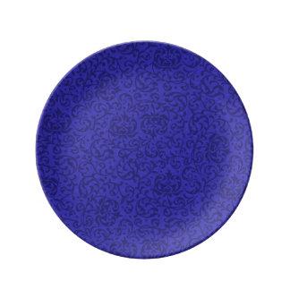 Cobalt Blue Tudor Garden Floral Damask Porcelain Plates