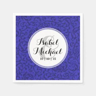 Cobalt Blue Tudor Garden Floral Damask Napkin