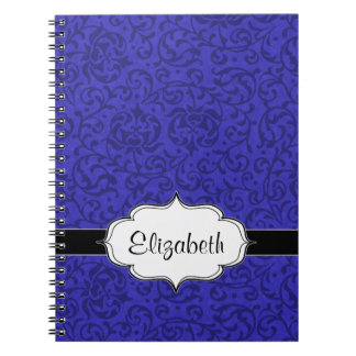 Cobalt Blue Tudor Garden Floral Damask Notebook