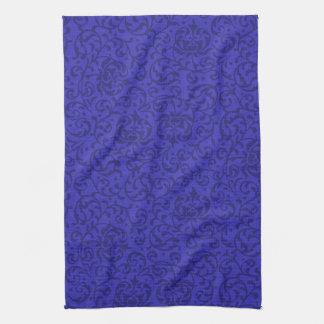 Cobalt Blue Tudor Garden Floral Damask Towel