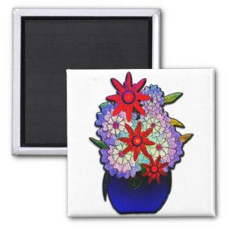 Cobalt Blue Vase with Flowers 2 Inch Square Magnet