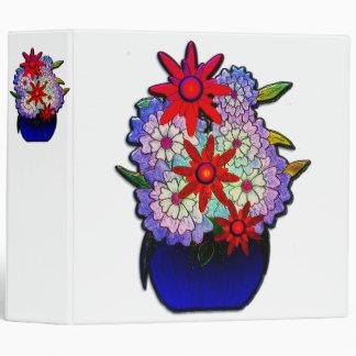 Cobalt Blue Vase with Flowers 3 Ring Binder