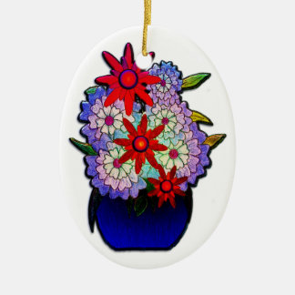 Cobalt Blue Vase with Flowers Double-Sided Oval Ceramic Christmas Ornament
