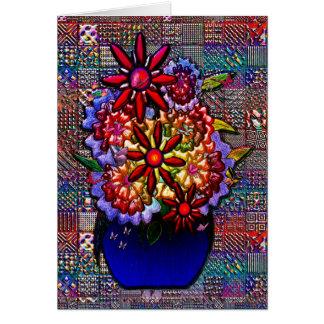Cobalt Blue Vase with Flowers Greeting Card