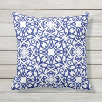Cobalt Blue Watercolor Spanish Tile Pattern Throw Pillow