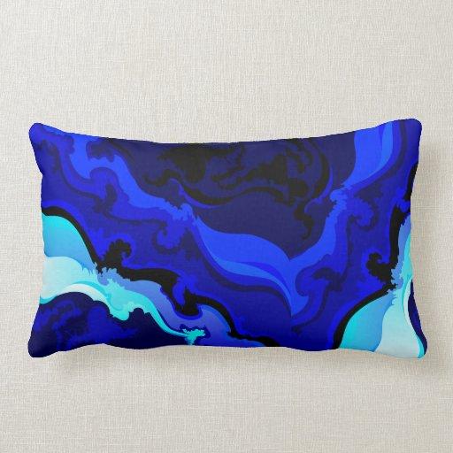 Cobalt Blue Wave Swirl Pillow Design Zazzle
