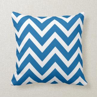 Cobalt Blue White Chevron Zigzag Stripes Pillow