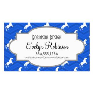 Cobalt Blue, White Horse, Equestrian, Chevron Business Card Templates