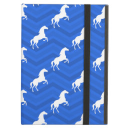 Cobalt Blue, White Horse, Equestrian, Chevron iPad Air Case