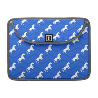 Cobalt Blue, White Horse, Equestrian, Chevron Sleeves For MacBook Pro