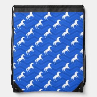 Cobalt Blue, White Horse, Equestrian, Chevron Drawstring Backpack