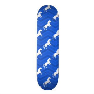 Cobalt Blue, White Horse, Equestrian, Chevron Skateboard