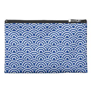 Cobalt Blue White Japanese Wave Pattern Travel Accessories Bag