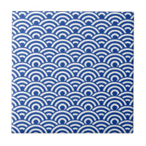 Cobalt Blue White Japanese Wave Pattern Ceramic Tile