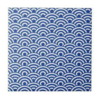 Cobalt Blue White Japanese Wave Pattern Ceramic Tile