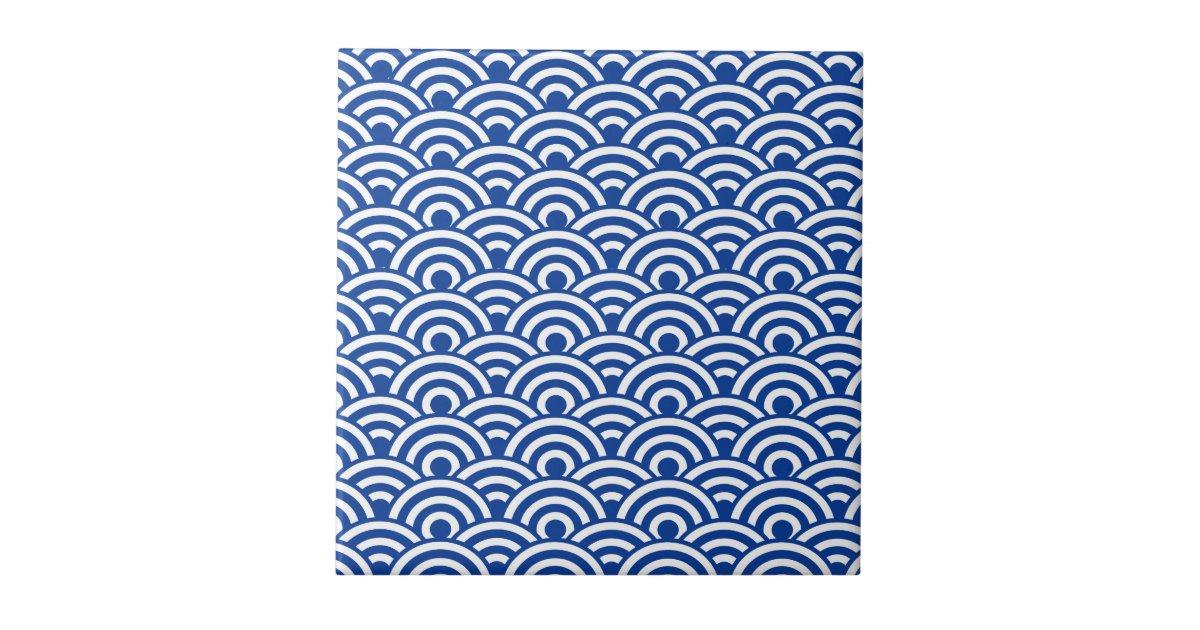 Cobalt Blue White Japanese Wave Pattern Ceramic Tile Zazzle