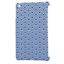 Cobalt Blue White Japanese Wave Pattern iPad Mini Cover