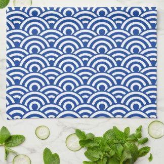 Cobalt Blue White Japanese Wave Pattern Kitchen Towel