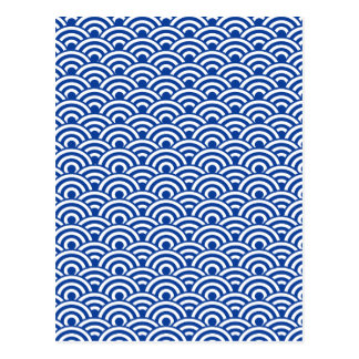 Cobalt Blue White Japanese Wave Pattern Postcard