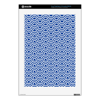 Cobalt Blue White Japanese Wave Pattern PS3 Decal