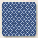 Cobalt Blue & White Maroccan Trellis Quatrefoil Coaster