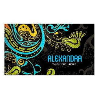 Cobalt Blue & Yellow Abstract Swirls-Template Business Card