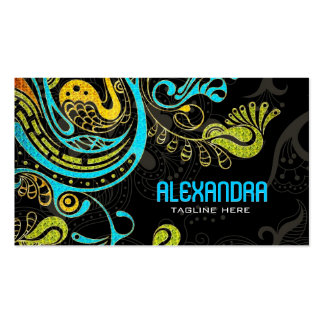 Cobalt Blue & Yellow Abstract Swirls-Template Double-Sided Standard Business Cards (Pack Of 100)