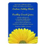 "Cobalt Blue Yellow Gerber Daisy Wedding Invitation 5"" X 7"" Invitation Card"