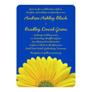 Cobalt Blue Yellow Gerber Daisy Wedding Invitation