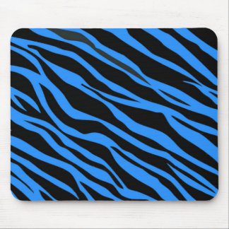 Cobalt Blue Zebra Striped Mouse Pad
