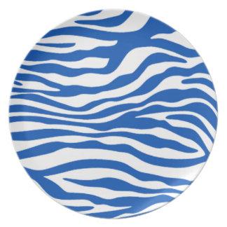Cobalt Blue Zebra Stripes Animal Print Plates