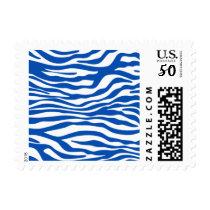 Cobalt Blue Zebra Stripes Animal Print Postage
