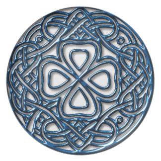 Cobalt Celtic Shamrock Plate