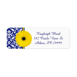 Cobalt Damask and Daisy Address Labels