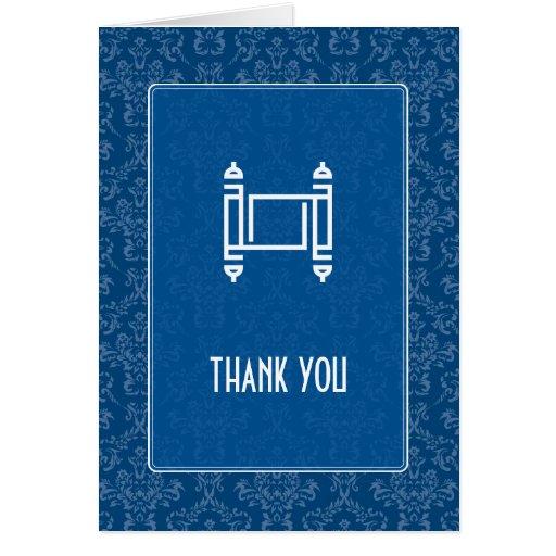 Cobalt Damask Thank You Cards