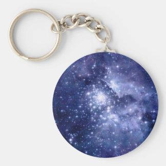 Cobalt Dreams Stars Galaxies Space Universe Keychain