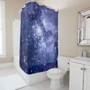 Cobalt Dreams Stars Galaxies Space Universe Shower Curtain
