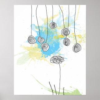 Cobalt Floral Splash-Poster
