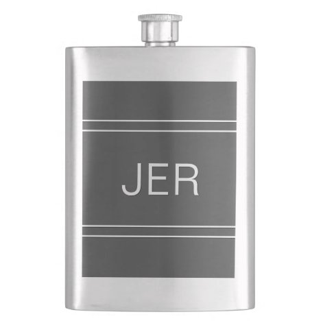 Cobalt Gray Personalized Monogram Initials  Drink Flask