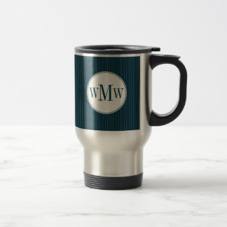 Cobalt Pinstripe Monogram Mug