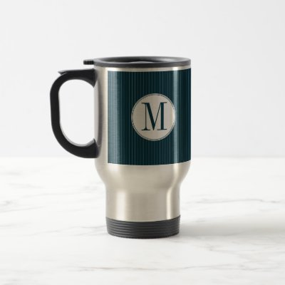 Cobalt Pinstripe Single Monogram Mug