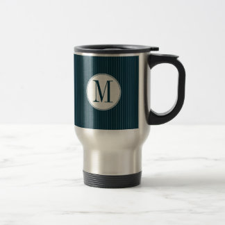 Cobalt Pinstripe Single Monogram Travel Mug