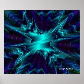 Cobalt Quad Fractal Poster