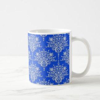 Cobalt Royal Blue and White Damask Classic White Coffee Mug